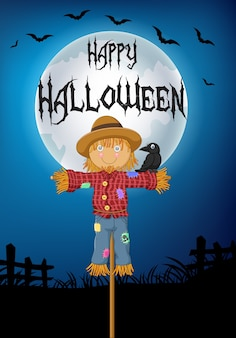 Halloween background with a crow perched on scarecrow
