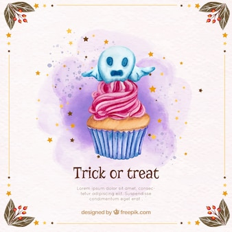 Halloween background with cupcake and decorative ghost