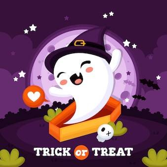 Halloween background with cute ghost