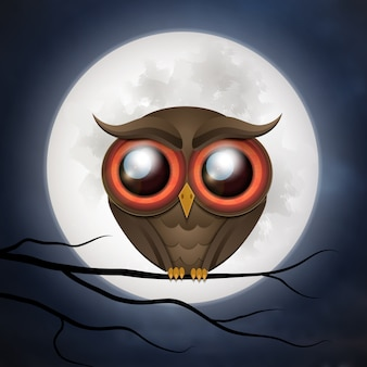 Halloween background with cute owl