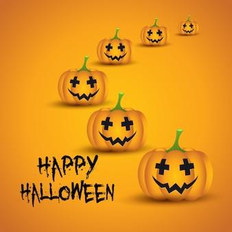 Halloween background with cute pumpkin / jack o lanterns