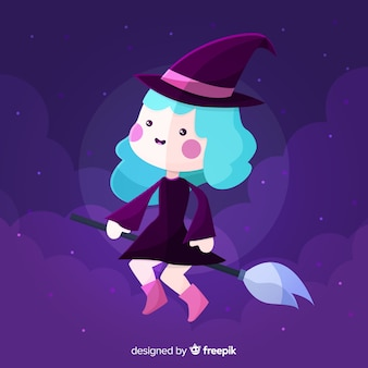 Halloween background with cute witch