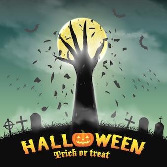 Halloween background with demon hand in graveyard
