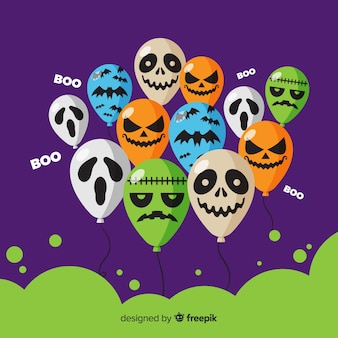 Halloween background with different balloons