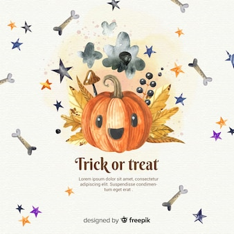Halloween background with elements in watercolor style