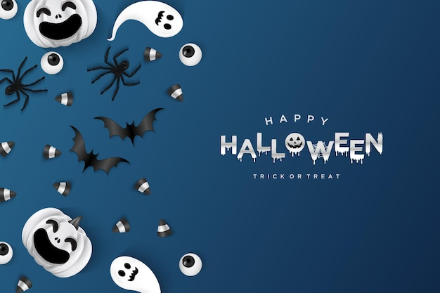 Halloween background with eye candy and bats