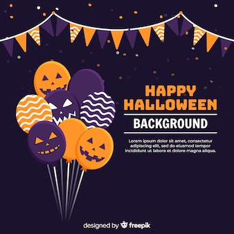 Halloween background with flat balloons