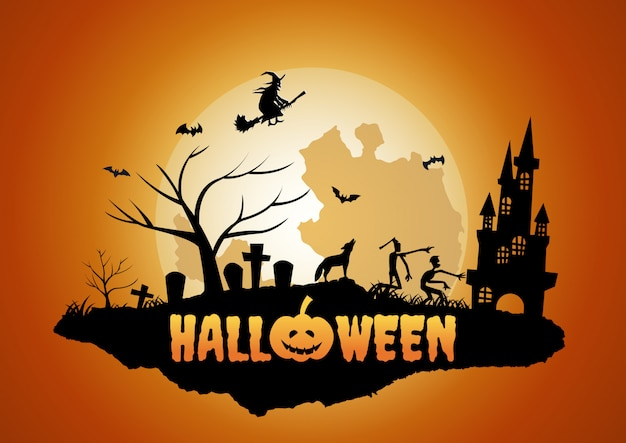 Хэллоуин фон с плавающим островом кладбище и призрак