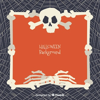 Halloween background with frame of bones