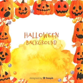 Halloween background with frame of watercolor pumpkins