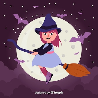 Halloween background with friendly witch