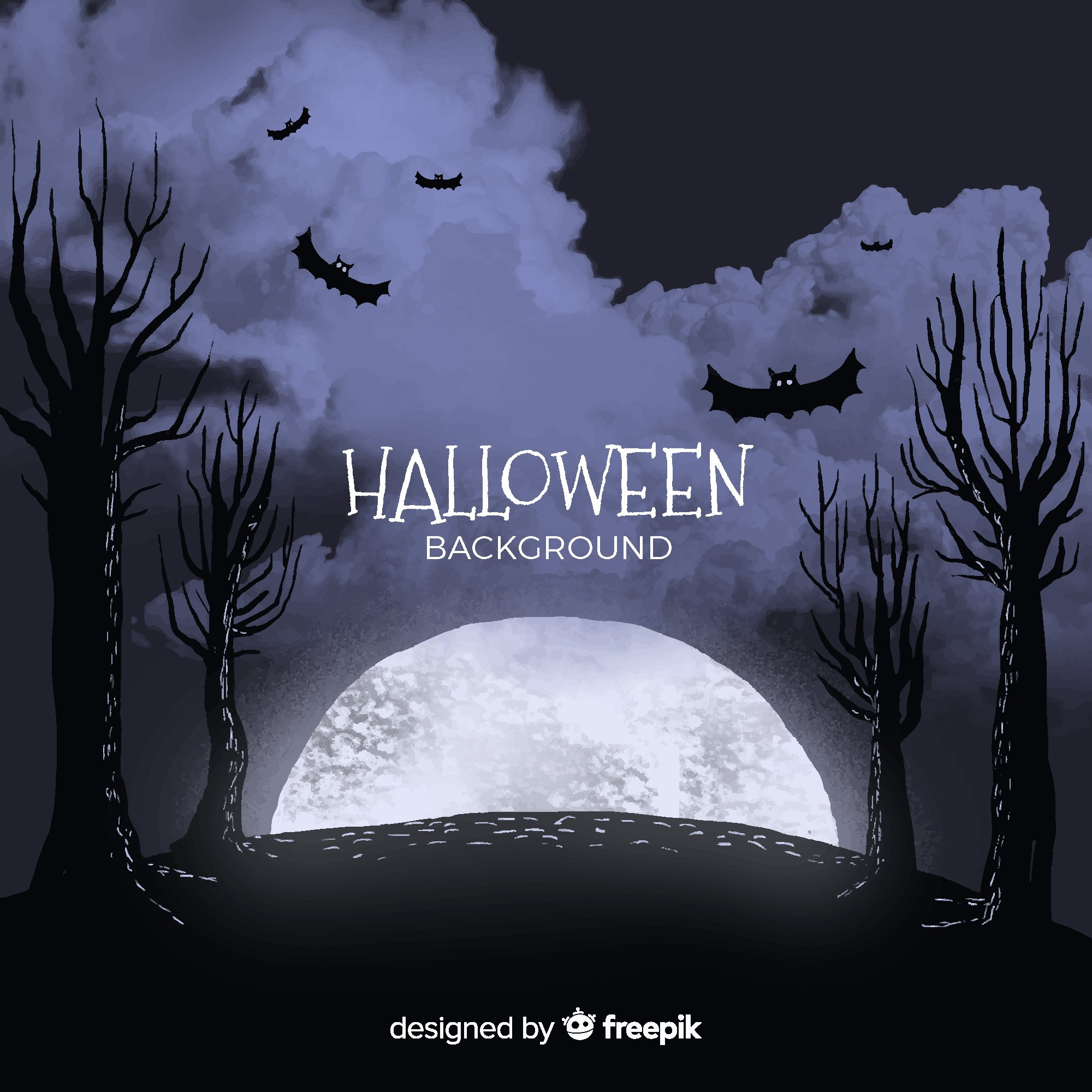 Halloween background with full moon, bats and trees