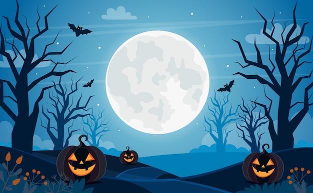 満月のハロウィン背景