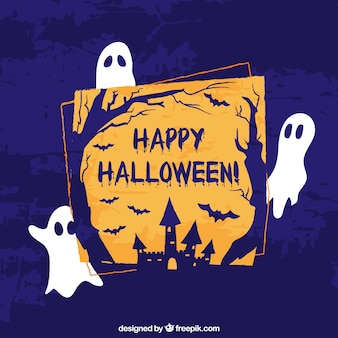 Halloween background with funny ghosts