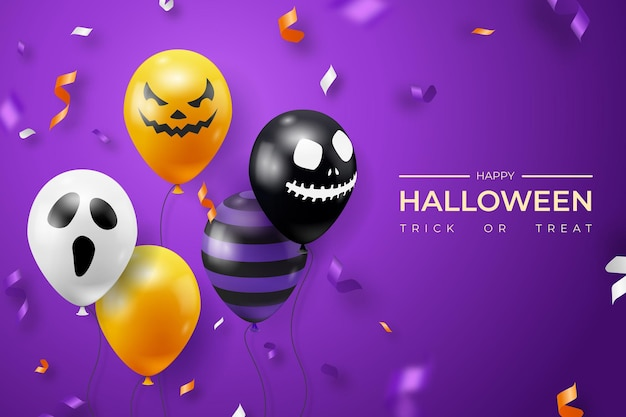 Halloween background with ghost balloons and ribbons decorations. creepy scary faces on balloons. decoration element for halloween celebration