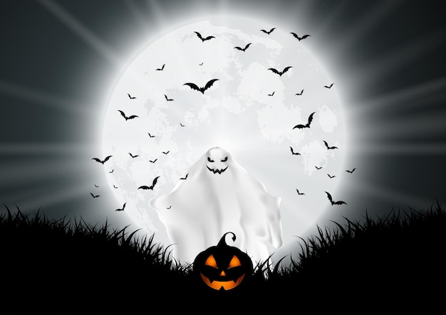 Halloween background with ghost and pumpkin in moonlit landscape