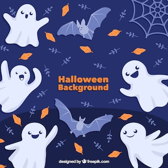 Halloween background with ghosts and bats