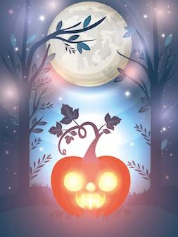 Halloween background with glowing pumpkin