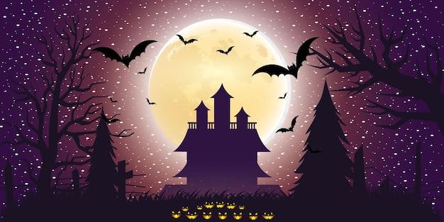 Хэллоуин фон с градиентным светом в плоском дизайне