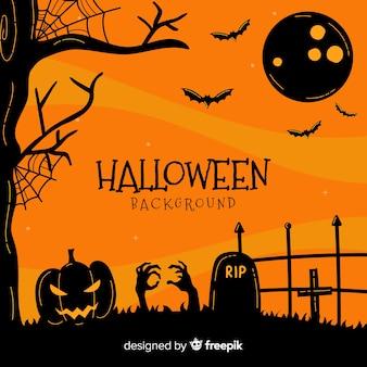 Halloween background with graveyard