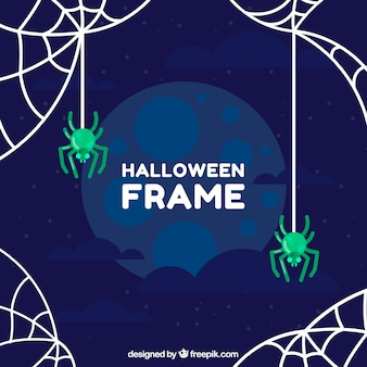 Halloween background with green spiders in flat design