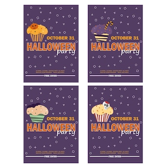 Halloween background with halloween cupcake - invitation to party or greeting card