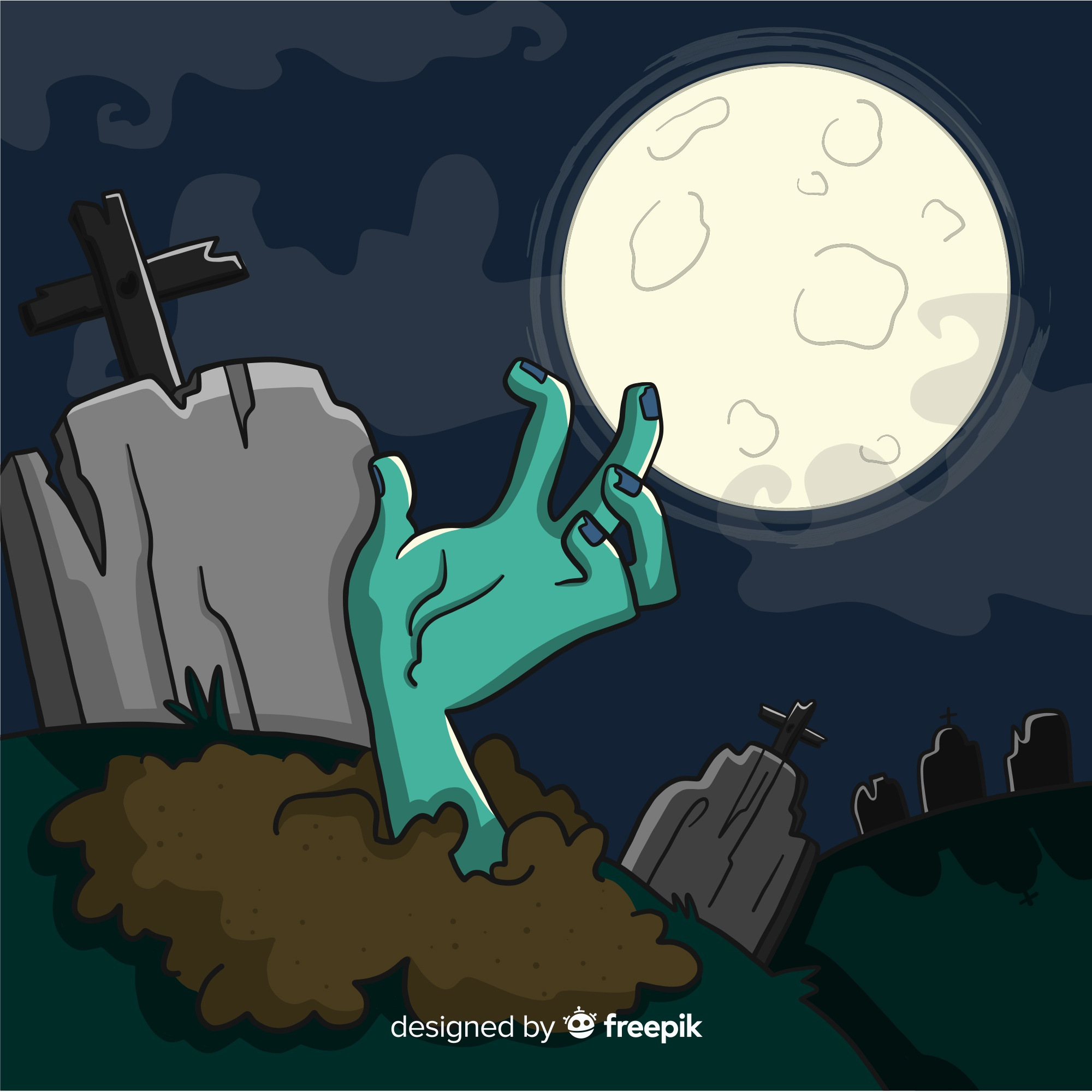 Halloween background with hand coming out of earth