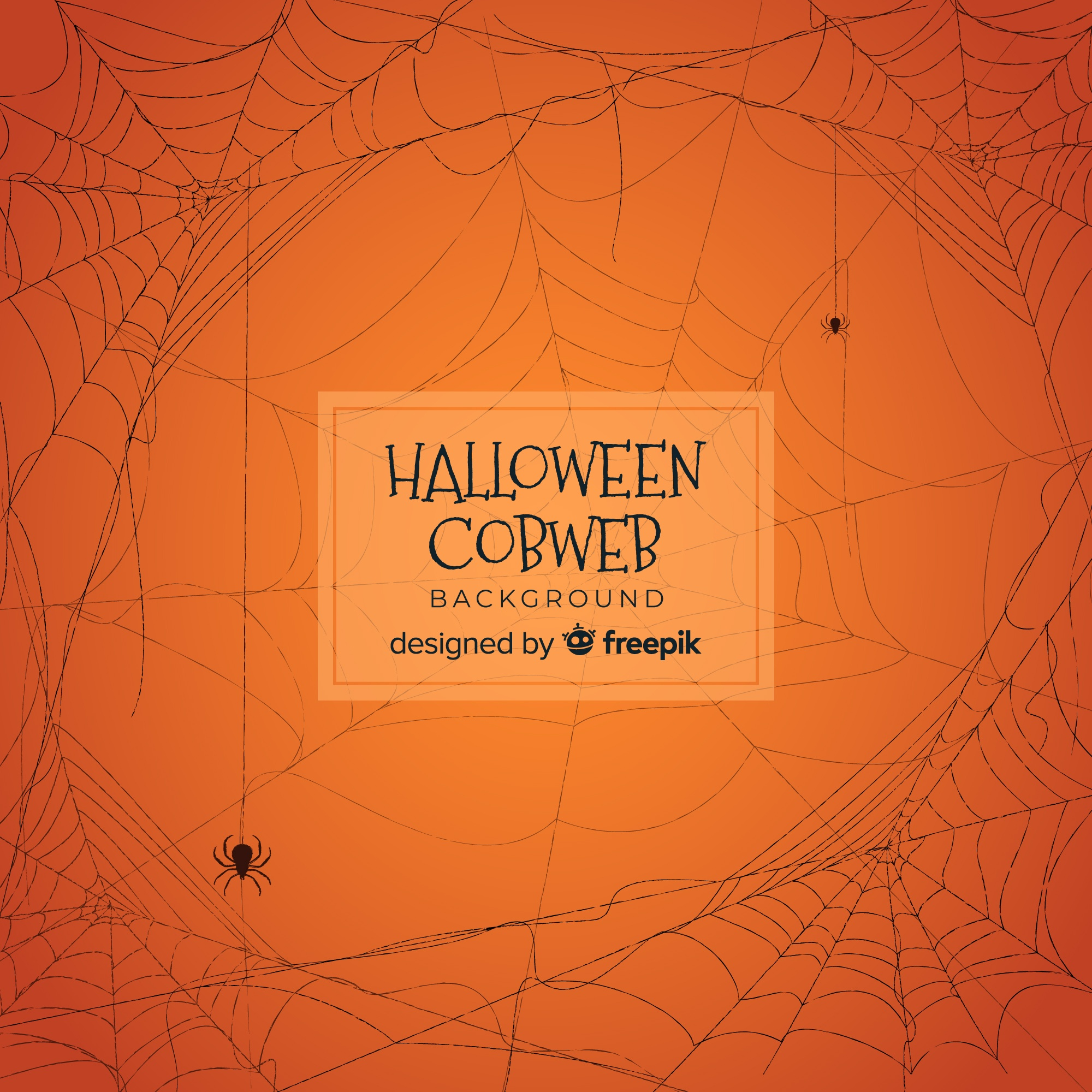 Halloween background with hand drawn cobweb