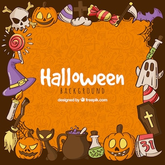 Halloween background with hand drawn elements