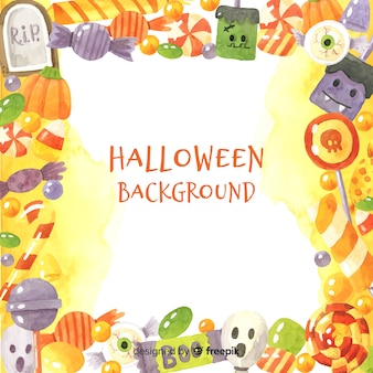 Halloween background with hand drawn frame