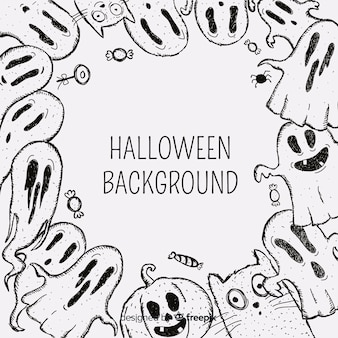 Halloween background with hand drawn ghosts frame