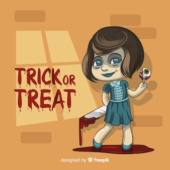 Halloween background with hand drawn terrific girl