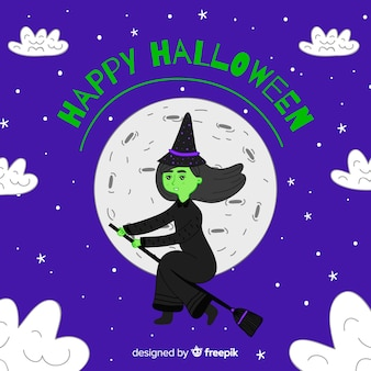 Halloween background with hand drawn witch
