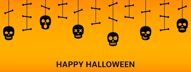 Halloween background with hanging sculls