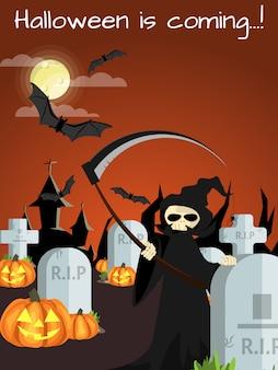 Halloween background with happy halloween text. Premium Vector