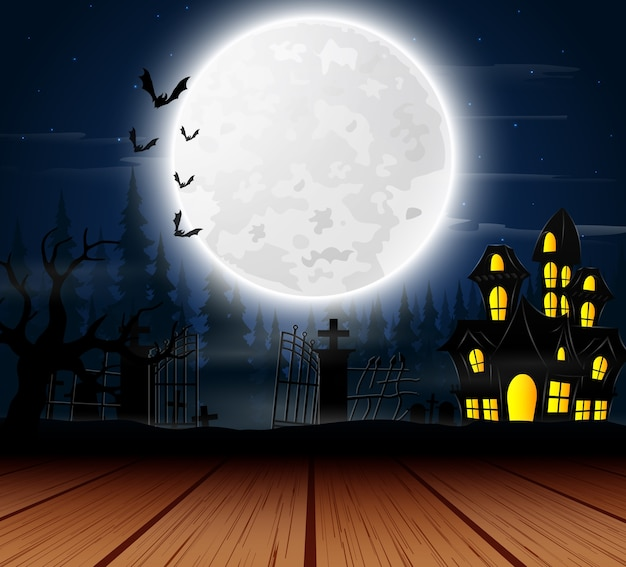 Halloween background with haunted house on the full moon