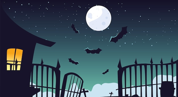 Halloween background with haunted house on spooky graveyard