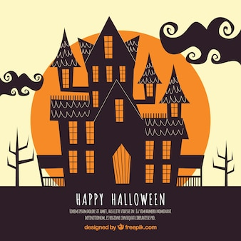 Halloween background with haunted house Free Vector