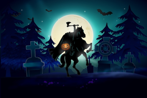 Halloween background with headless horsemen design