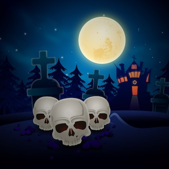 Halloween background with horror skull
