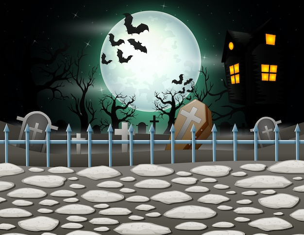 Halloween background with house in full moon