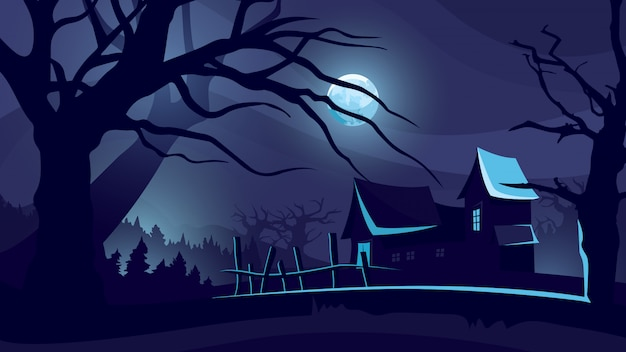 Хэллоуин фон с домом под луной.