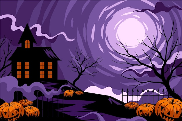 Halloween background with house