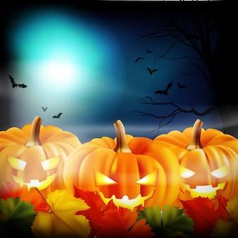 Halloween background with jack o lantern