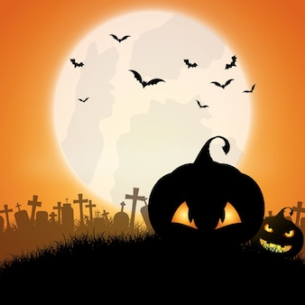 Halloween background with jack o lanterns