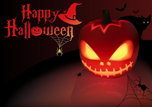Halloween background with lightning pumpkin and silhouetted spiders