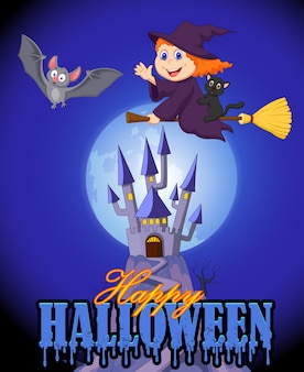 Halloween background with little witch flying