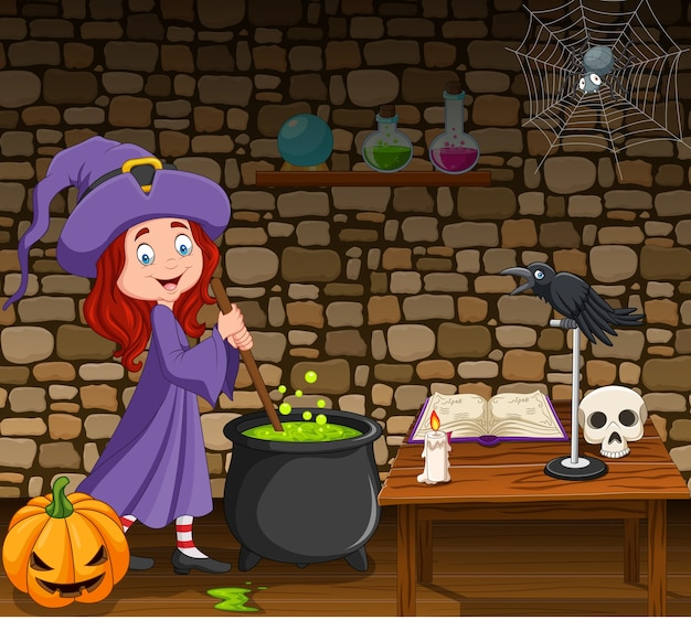 Halloween background with little witch stirring magic potion