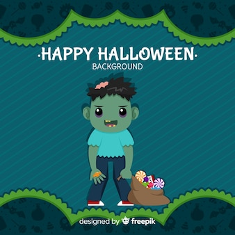 Halloween background with lovely zombie