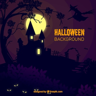 Halloween background with mansion in the night